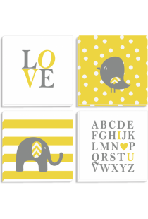 Set Tablouri Canvas Yellow cu Alfabet si Animalute